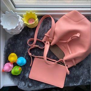 Furla Peach Leather Stacy Small Bucket Bag